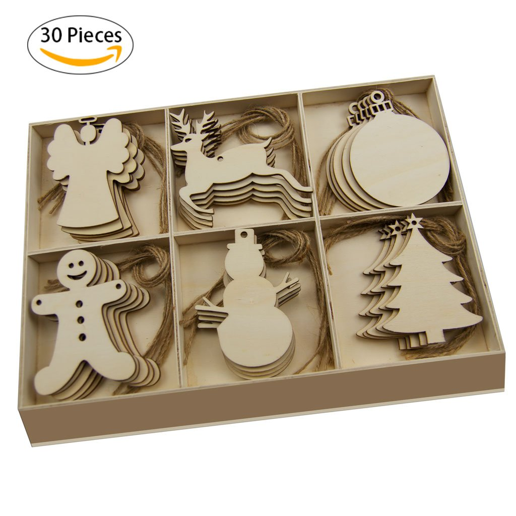 """""""Christmas Clearance>50% for Your Next New Year"""" Wooden Christmas Tree Ornament-YuQi 30pcs Blanks Wooden Tree Embellishments with Natural Twine (Snowman)"""