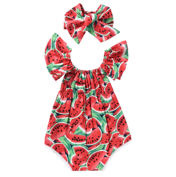 2019 New Style Summer Baby Ruffle Sleeve Clothes Girl Lace Watermelon Romper With Hairband