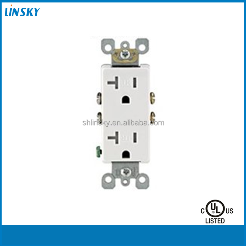 20 Amp NEMA 5-20R 2 Pole 3-Wire Tamper Resistant Decora Duplex Receptacle, Self Grounding, White