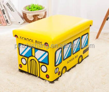 School Bus Container Collapsible Storage Trunk School Bus Toy Folding  Storage Box