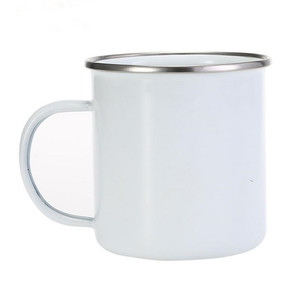 White Blank Sublimation Custom Metal Enamel Mug Cup