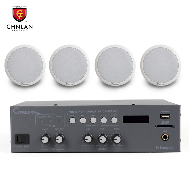 Chnlan PA system bluetooth mixer amplifier+4 pcs ceiling speaker sound system for hall shop home theater