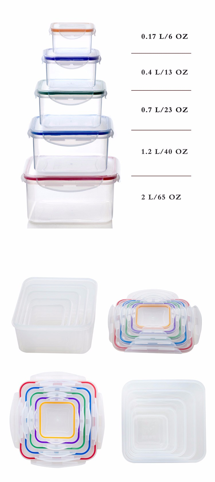 Microwave Dishwasher Safe Waterproof Keep Food Fresh Airtight Food Container Set With Lock Lids