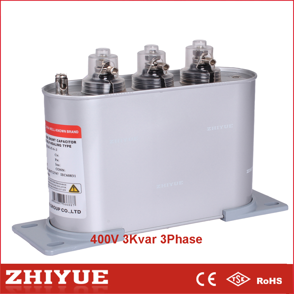 factory produce 400v 3kvar 3phase electrical material china through hole capacitor