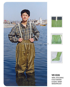 yellow waterproof elastic chest pvc rubber wader for fishing