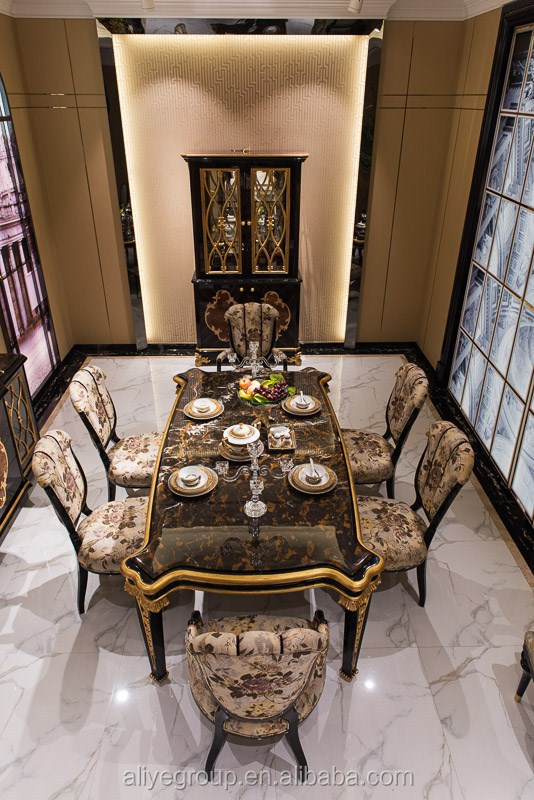 TN 025 European Dining Room Furniture Royal Design Table Sets Wooden