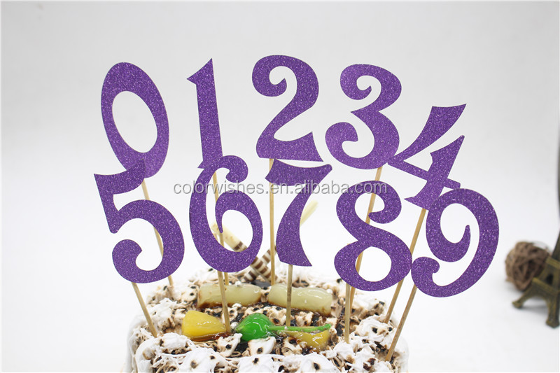 Personalized Glitter Paper Number Cake Toppers Wedding Birthday Party Accessories
