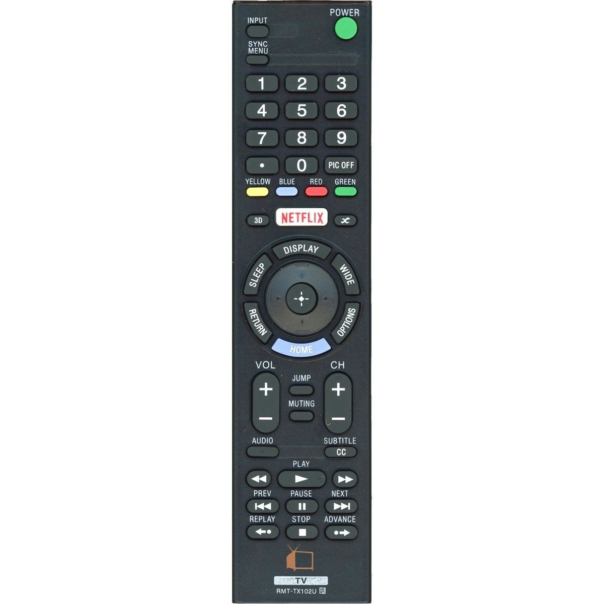 DSK TV Supply RMT-TX102U Remote Control for Sony LCD/LED TVs