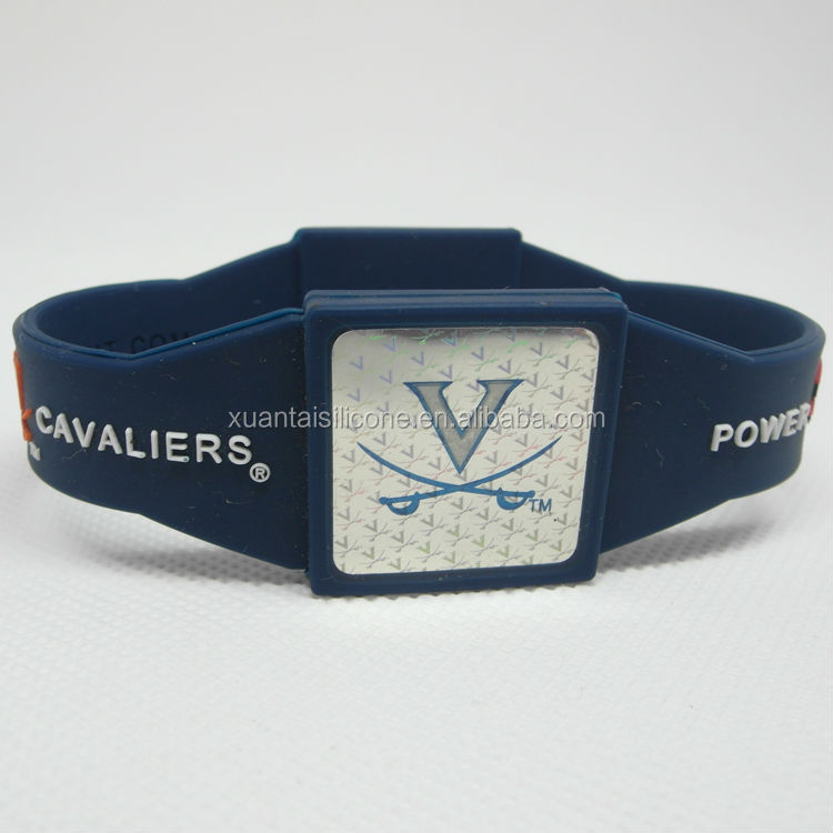 Factory supply cheapest silicone college bracelet/power force silicone bracelet/the Virginia Cavaliers team