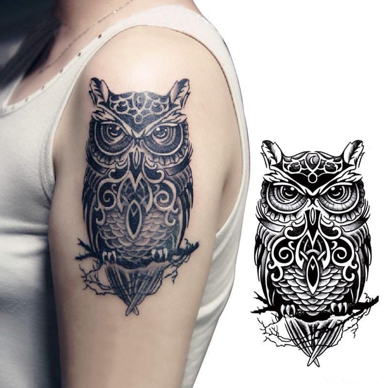 Temporary Tattoo Sticker Large Size Body Art Sketch Flower: Waterproof Temporary Tattoo Sticker On Arm Big Size Owl
