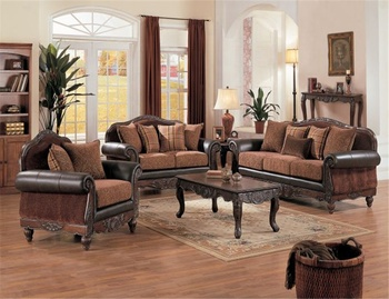 American style antique Carved wooden living room furniture classic leather sofa sets YC1010