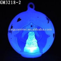 Wholesale light-up christmas glass ornament with angel