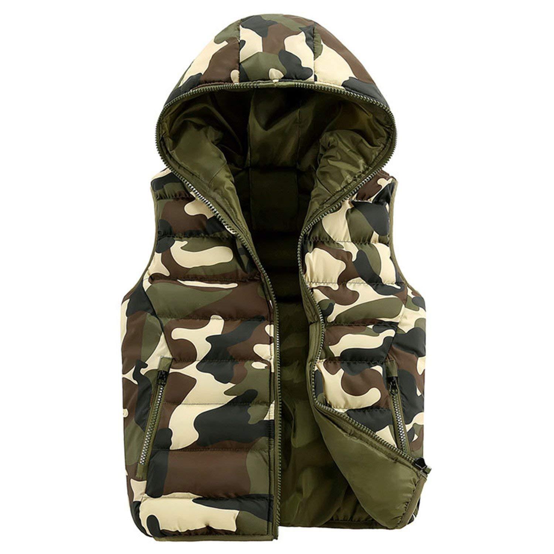 Jwhui Mens Women Casual Vest Men Camouflage Vests Men Down Sleeveless Jacket Waistcoat