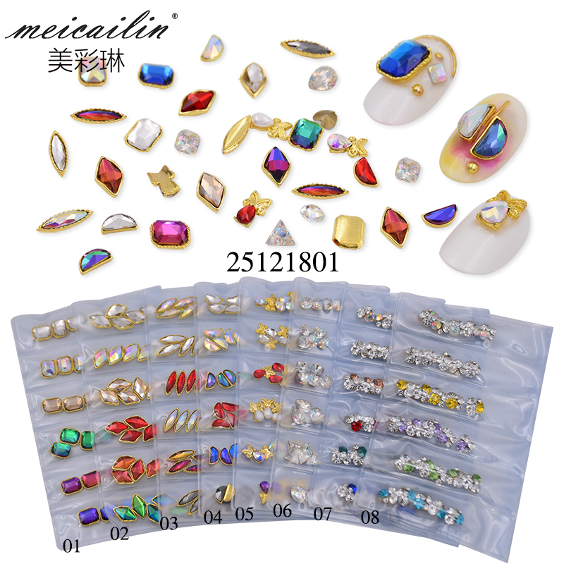 New sweet nail art rhinestones mixed color fashion DIY glitter alloy nail rhinestone for 3D nails art decoration set