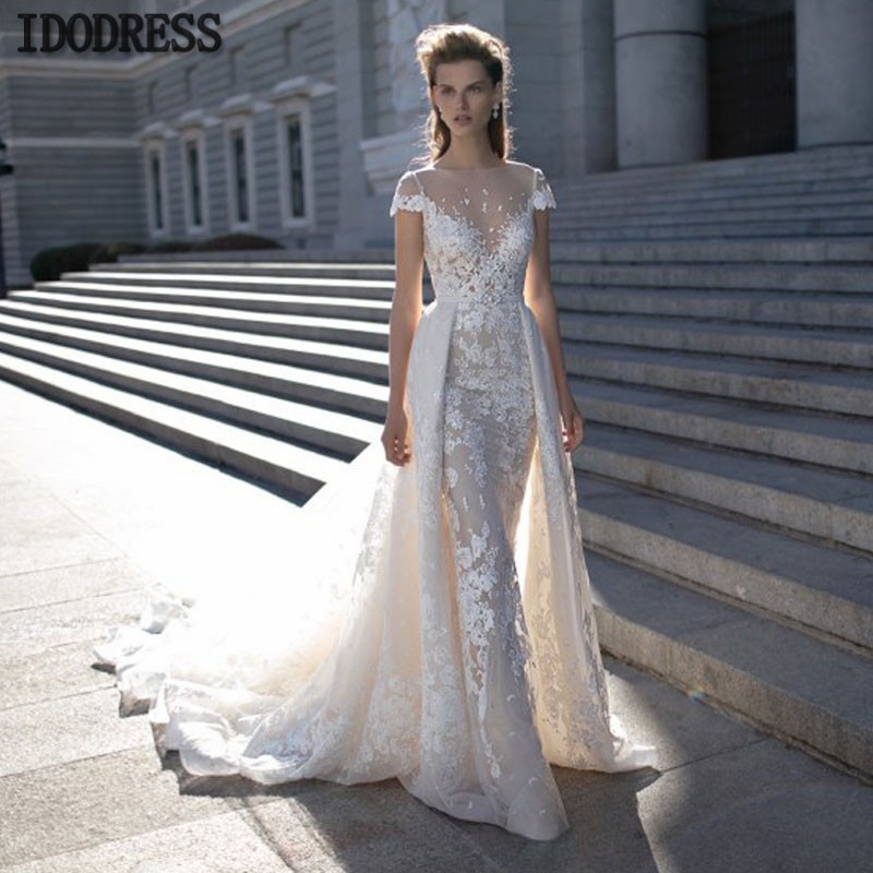 Wedding Dresses With Detachable Tail: New Wedding Dresses With Detachable Tail Sheer Scoop Neck