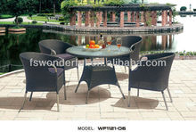 WF1121-06 garden rattan and stainless steel metal dining table set