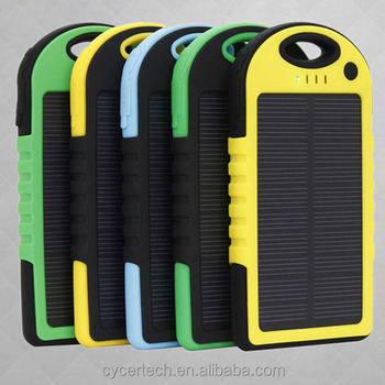 waterproof shockproof dustproof 5000mAh solar power bank with led torch