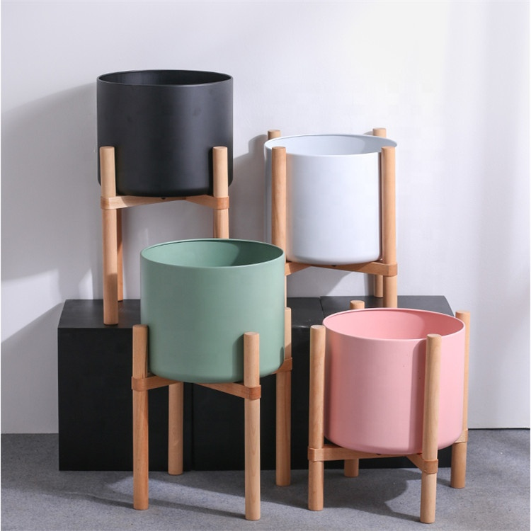Cylinder high quality matte garden decor indoor wholesale ceramic larger plant pots with wooden stands