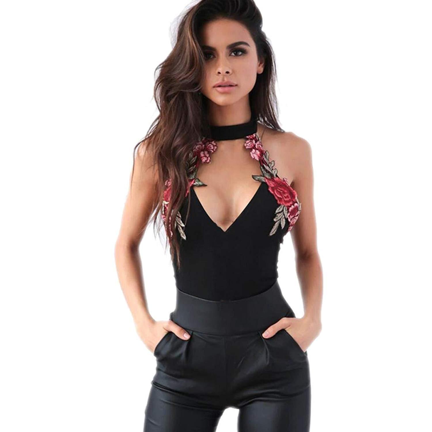 39b910b65a88 Get Quotations · Women Clubwear Embroidered Jumpsuit Romper Halter Sleeveless  Bodysuits