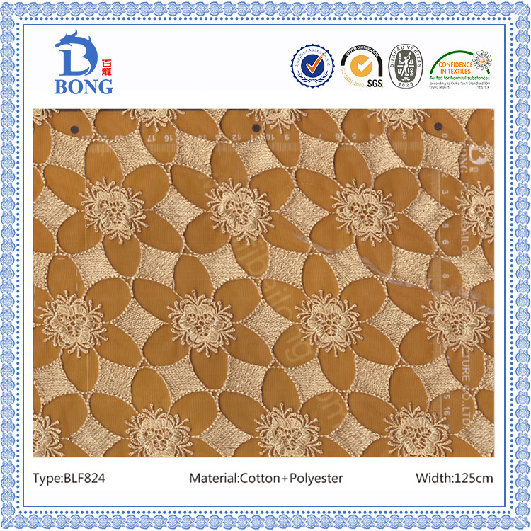 White gold heavy embroider lace fabrics manufacturer