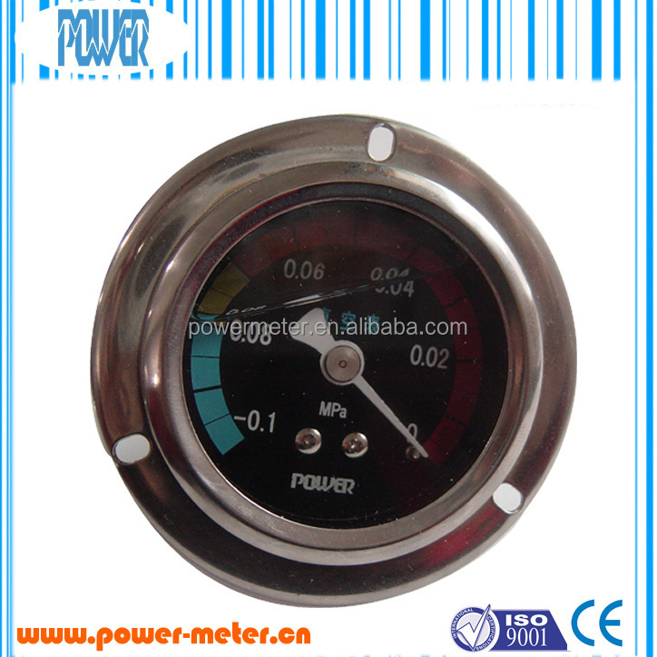 2 inch stainless steel back type liquid filled vacuum pressure gauge with front flange