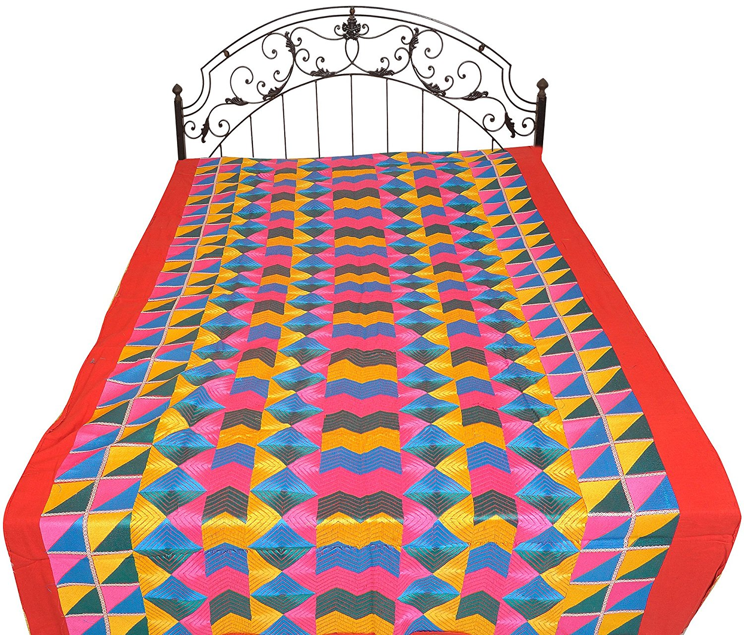 Buy Multicolor Phulkari Embroidered Single Bedcover From Punjab With