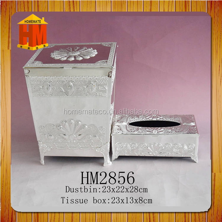 silver dust bin & tissue box set hotel/home decoration/iranian silver iron garbage box