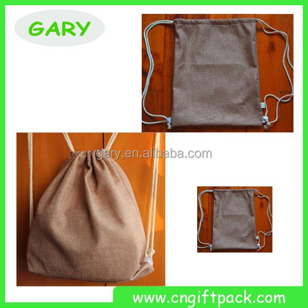 Linen Jute drawstring backpack totally drawstring promotional marketing products