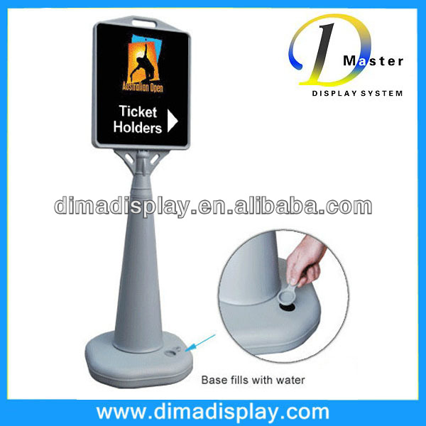 "Outdoor Cone Sign holder stand that Holds 13""w x 15""h Graphics"