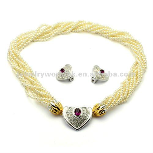 Authentic Austrian purplish red crystal gold plated love heart pearl necklace earrings jewelryset