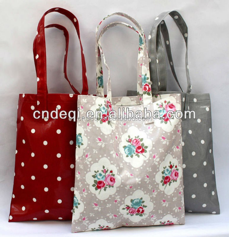 PVC Coated Oilcloth Vintage Book Bags Ladies Handbag