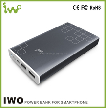 2A input faster power case 15000mAh ultre slim aluminium alloy power charger original iwopower bank for galaxy grand duos