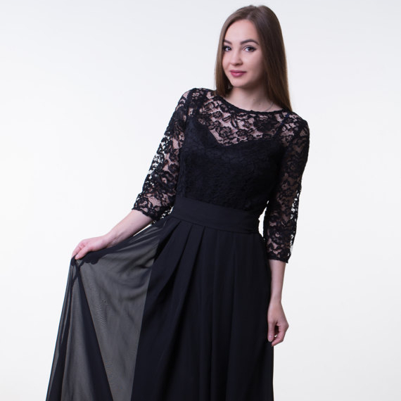 Sleeves Lace hitam panjang Evening dress