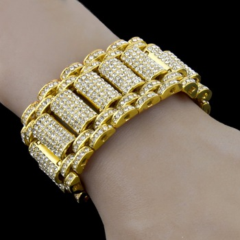 Iced out Mens Simulated Diamond Bracelet Hip Hop Big Chunky