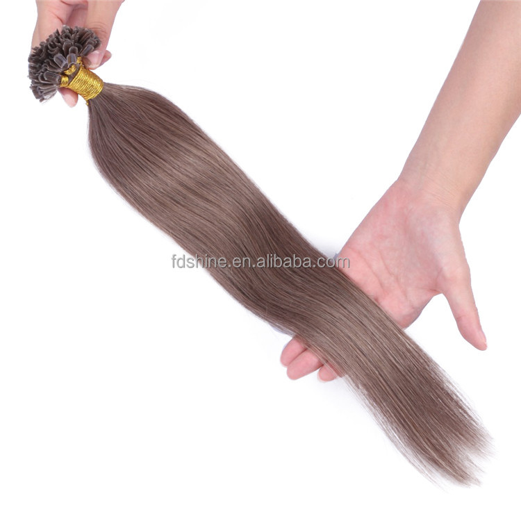 10A top quality 8# u tip hair extensions cambodian pre bonded straight u tip human hair extensions