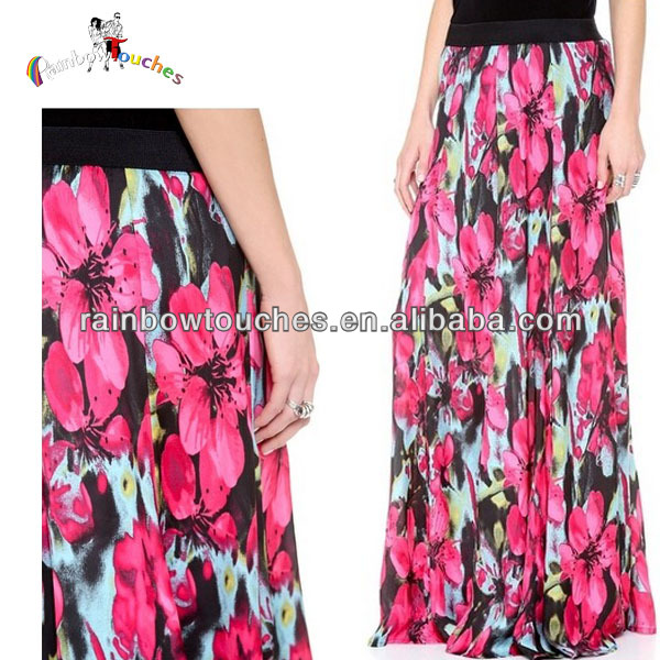 2014 Lady's Summer Tropical Floral Printed Bohemia Long Skirt