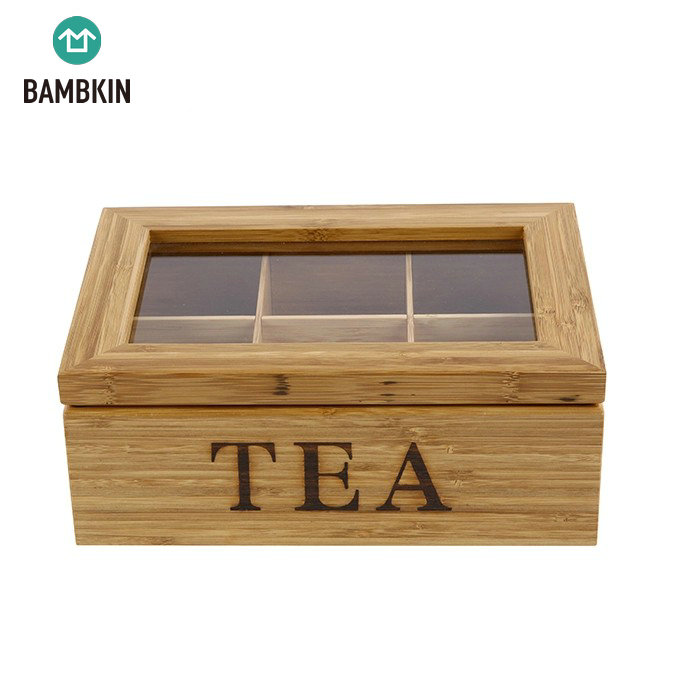 BAMBKIN rectangle 6 Equally Divided Compartments with Clear Lid Bamboo Tea Box jewelry box