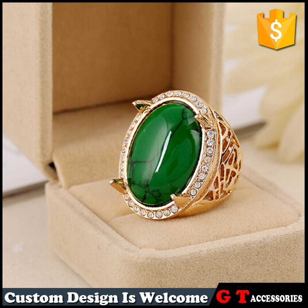 New Design Ellipse Turquoise Stone Ring With Rhinestone,Men Womens ...