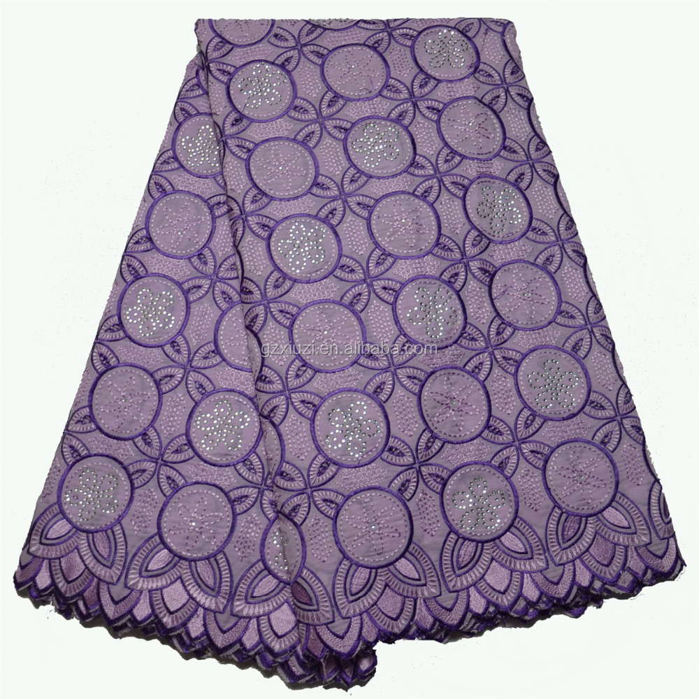 Wholesale African Dry Tokay Lace, In Stock Ladies Suits Nigerian Purple Voile Cotton Lace African With Stones XZ33760L-4