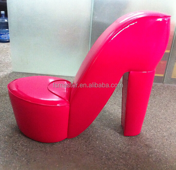 Fashion Red Color High Heel Shoe Shape Pu Chair Buy High Heel