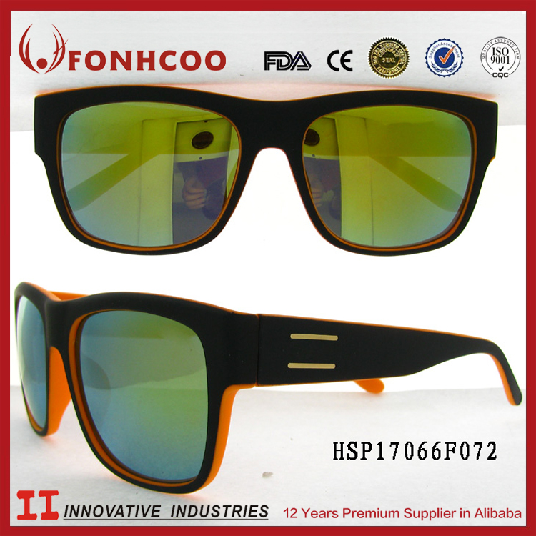 FONHCOO Wenzhou 2016 Black Frame Mirror Sunglasses For Men Gafas De Sol Hombre