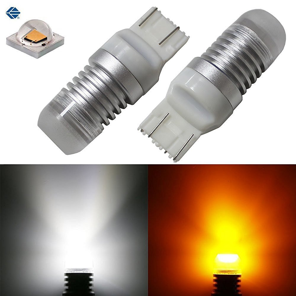 iJDMTOY (2) 7443 7441 7444 T20 5W High Power Super Bright White/Amber 360-Degree Shine Switchback LED Bulbs for Front Turn Signal Lights