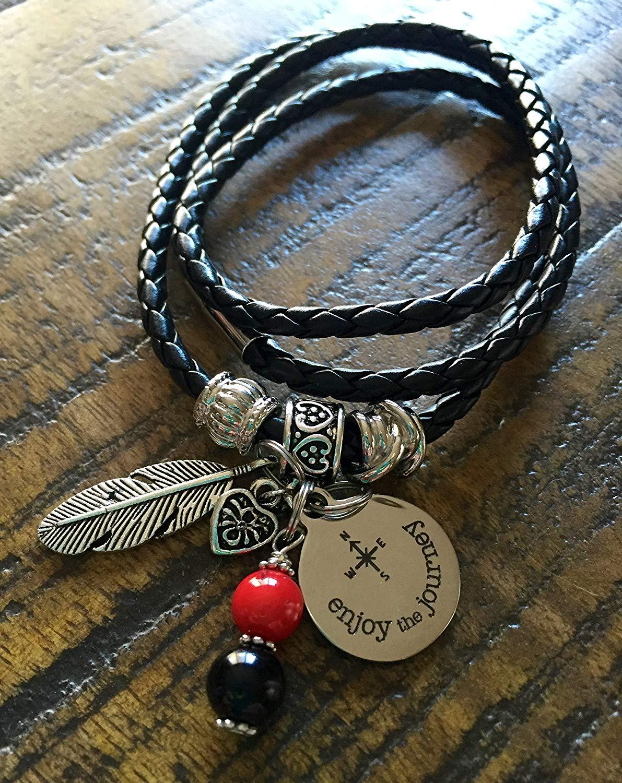 Boho Wrap Bracelet Black leather braided bracelet Boho Bracelet Compass Brave Enjoy the Journey Feather Hipster Graduation 2017