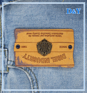 fashion wholesale custom metal PU label /jeans clothing label