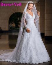 2015 New vestido de noiva sexy Long Sleeve Wedding Dresses Custom-Made Bridal Gown