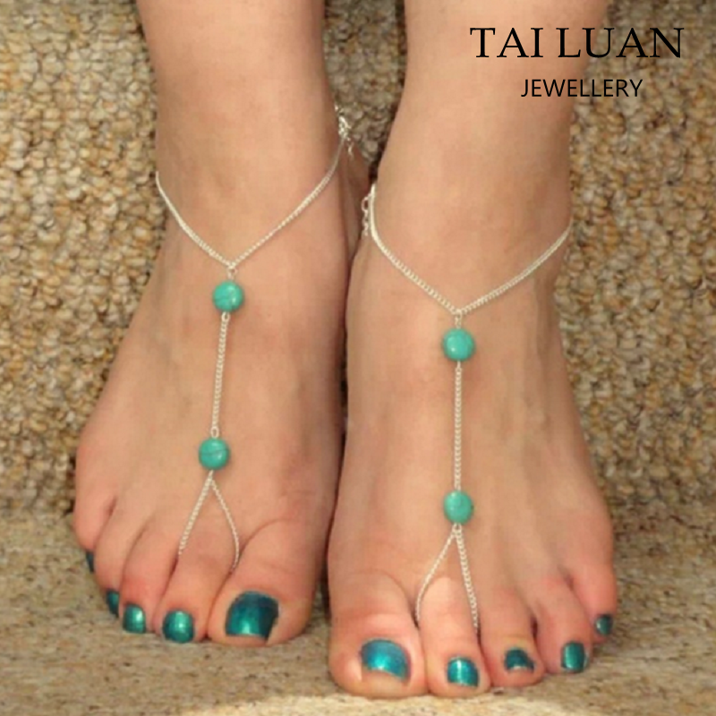 2017 Fashion design turquoise hotwife anklets wholesale
