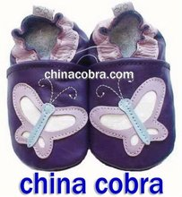 purple butterfly genuine leather baby shoes high quality