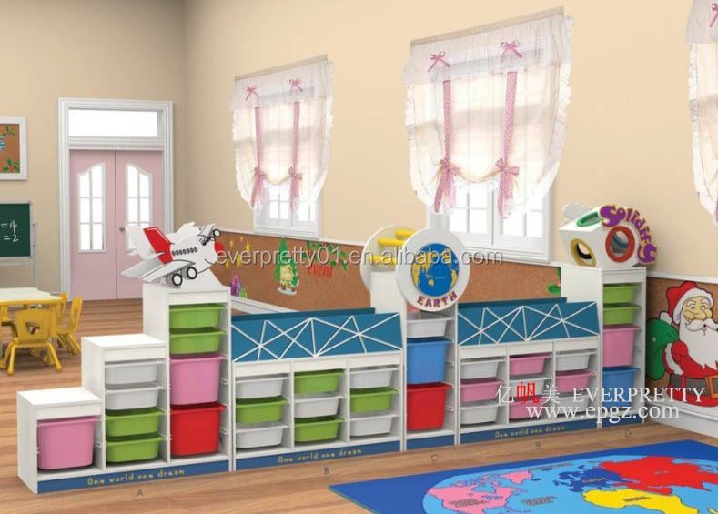 Daycare Furniture Wood Kids Bookshelf With Doors Cabinet