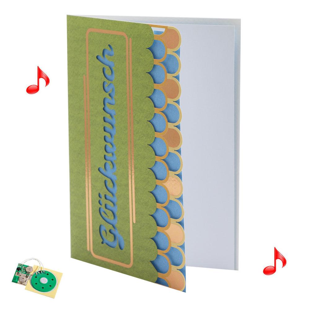 Custom Handwork Paper Greeting Card Music Sound Happy Birthday