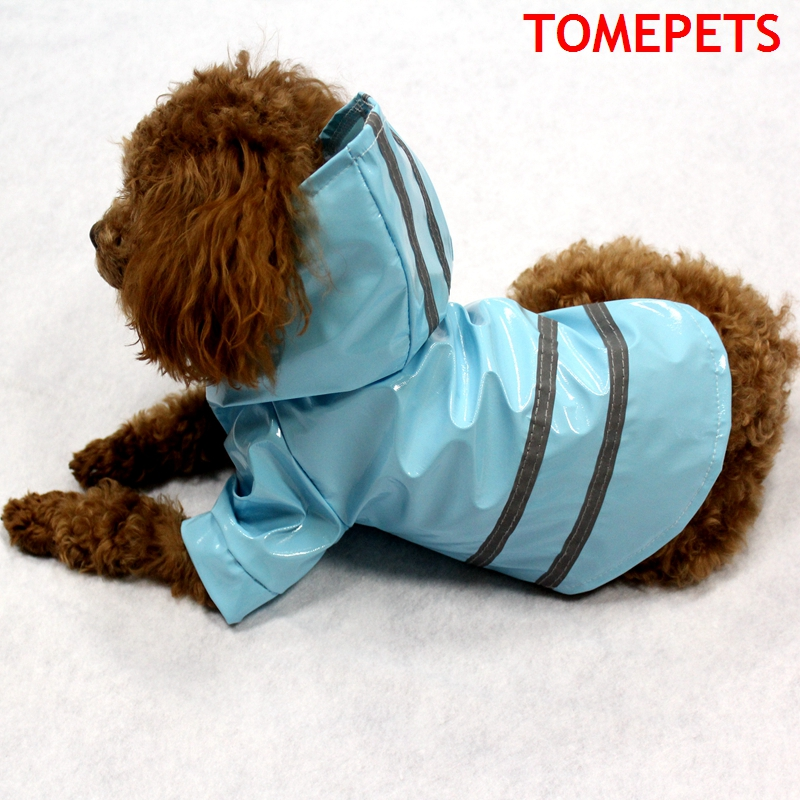 Stocked blue/red/pink/coffee/yellow color polyester raincoat style dog clothes for small <strong>pets</strong> with reflective security belt
